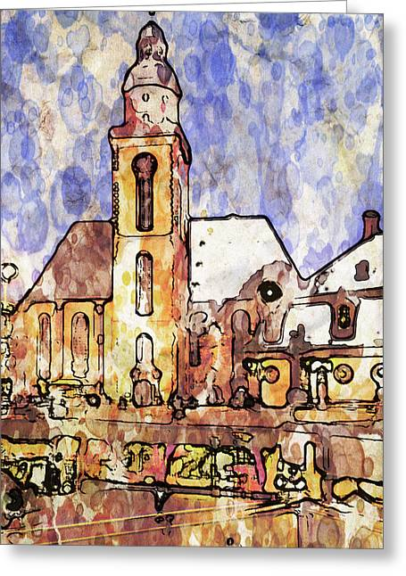 Old Town Digital Art Greeting Cards - Frankfurt Germany Central Square 1 Greeting Card by Yury Malkov