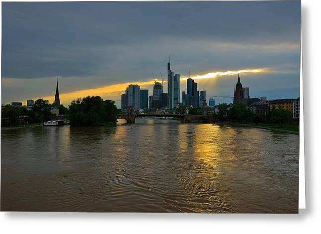 Frankfurt Sunset Greeting Card by Steven Richman