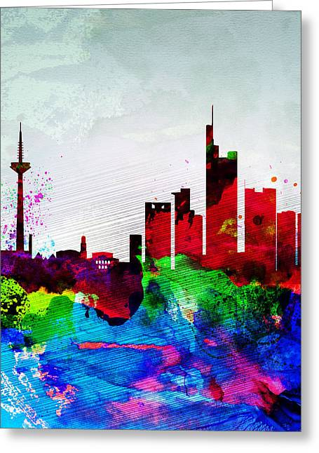 Cityscape Digital Art Greeting Cards - Frankfurt Watercolor Skyline Greeting Card by Naxart Studio