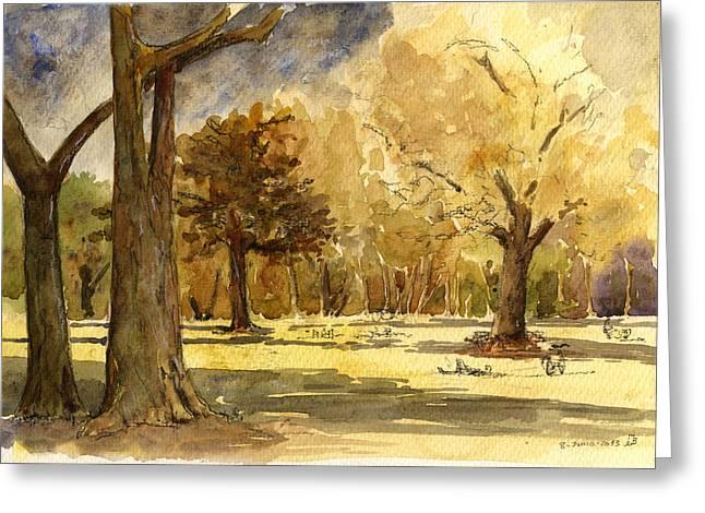 Winter Trees Greeting Cards - Frankfurter park Greeting Card by Juan  Bosco