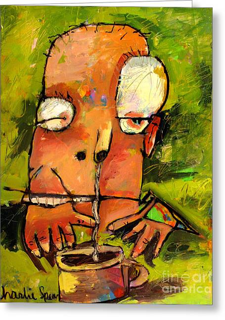 Coffee Drinking Greeting Cards - Frankie Needs Coffee No1 series from THAT COFFEE THING Greeting Card by Charlie Spear