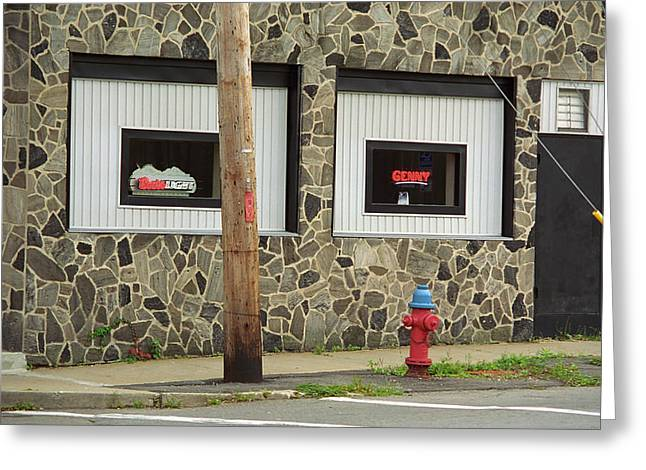 Buy Local Greeting Cards - Binghamton New York - Frankies Tavern Neon Greeting Card by Frank Romeo