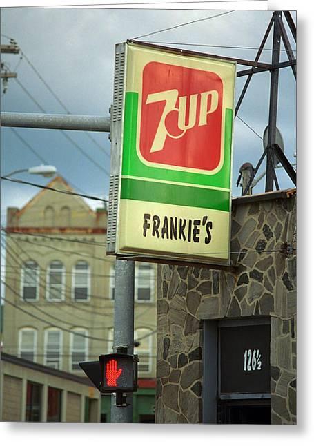 7up Sign Greeting Cards - Frankies Tavern - Binghamton New York Greeting Card by Frank Romeo
