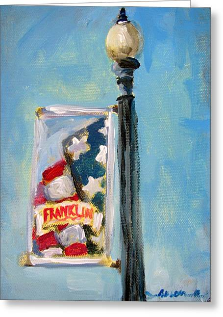 Downtown Franklin Greeting Cards - Franklin Banner Greeting Card by Susan E Jones
