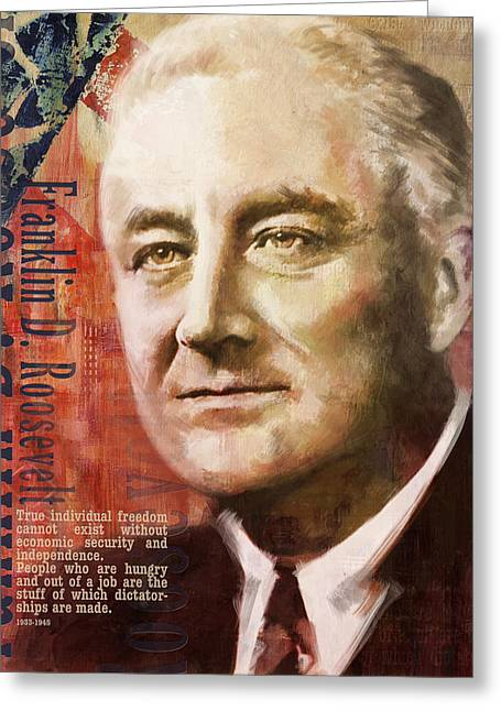Franklin Roosevelt Greeting Cards - Franklin D. Roosevelt Greeting Card by Corporate Art Task Force