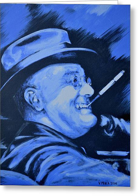 Franklin Roosevelt Paintings Greeting Cards - Franklin D. Roosevelt Greeting Card by Victor Minca