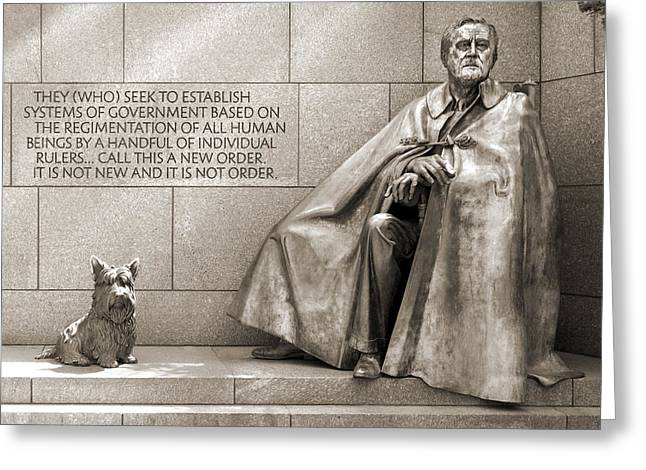 National Mall Greeting Cards - Franklin Delano Roosevelt Memorial - Bits and Pieces 7 Greeting Card by Mike McGlothlen