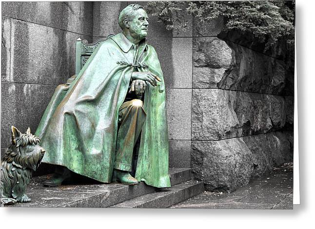 Franklin Roosevelt Greeting Cards - Franklin Delano Roosevelt  Memorial Greeting Card by Mitch Cat