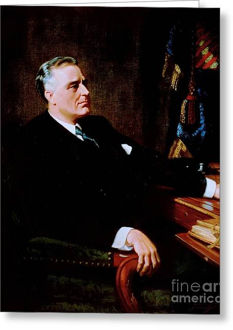 Liberal Paintings Greeting Cards - Franklin Delano Roosevelt Greeting Card by Pg Reproductions