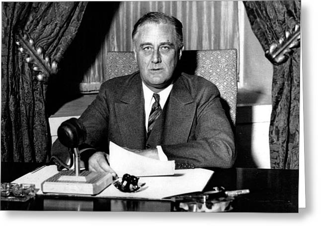 President Of America Photographs Greeting Cards - Franklin Delano Roosevelt Greeting Card by Unknown
