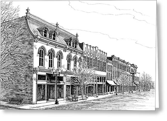 Pen And Ink Drawing Of Franklin Tennessee Greeting Cards - Franklin Main Street Greeting Card by Janet King