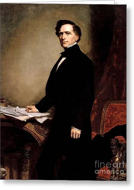 Gpa Greeting Cards - Franklin Pierce Greeting Card by GPA Healy