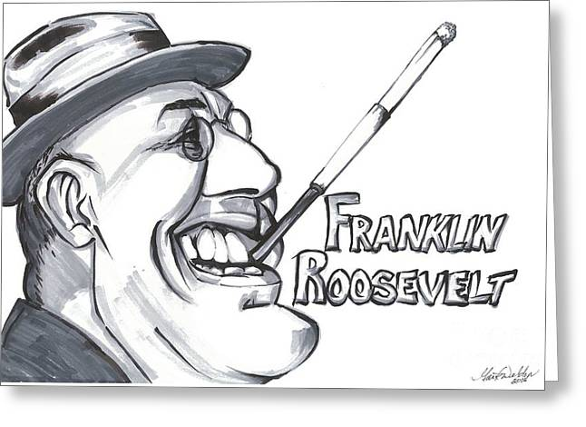 President Pastels Greeting Cards - Franklin Roosevelt Greeting Card by Mark Weldon