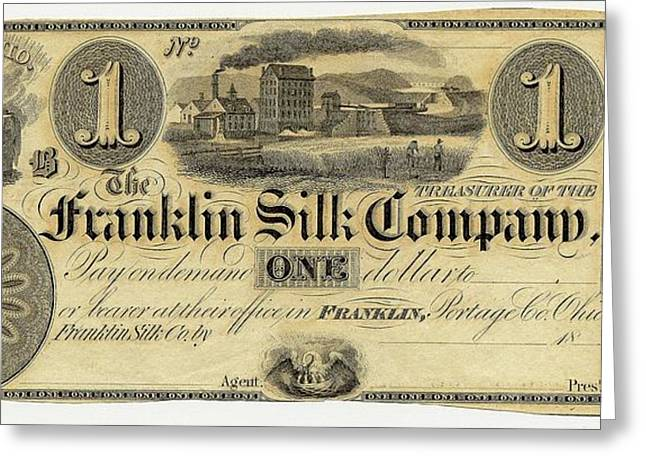Franklin Silk Company Bank Note Greeting Card by American Philosophical Society