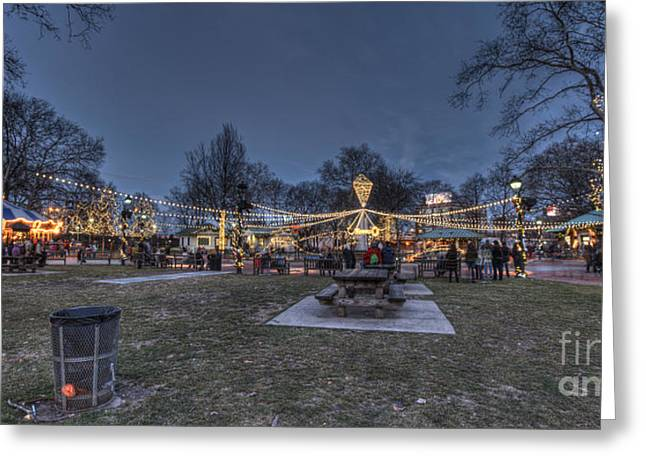 Williams Dam Greeting Cards - Franklin Square Electrical Spectacle Greeting Card by Mark Ayzenberg