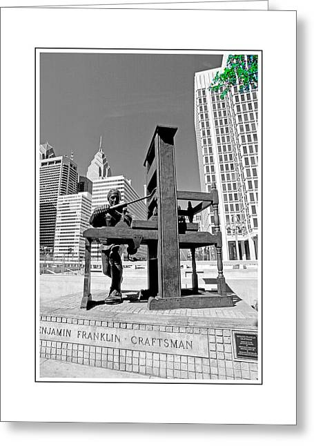 Franklin Press Greeting Cards - Franklin Statue Ver. 2 Greeting Card by Larry Mulvehill