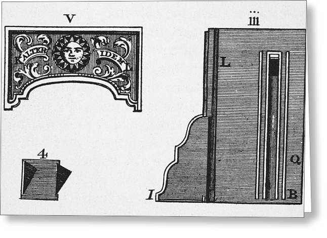 1751 Greeting Cards - Franklin Stove Diagram Greeting Card by Granger