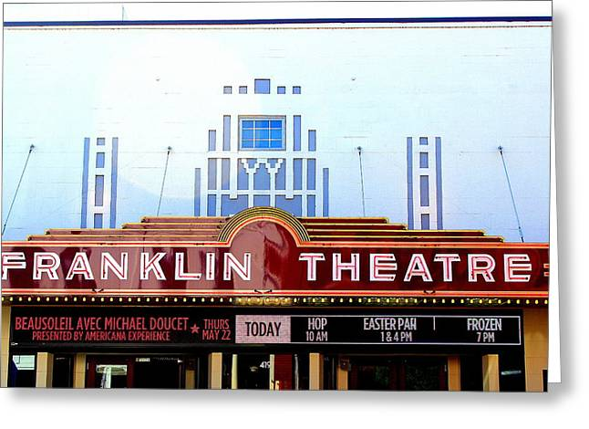 Franklin Theatre Greeting Card by Anthony Jones