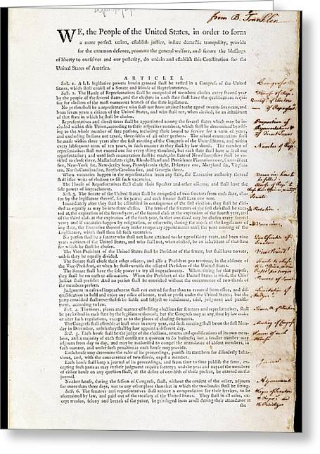 Franklin's Copy Of The Us Constitution Greeting Card by American Philosophical Society