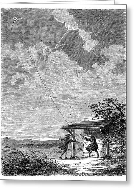 Franklin's Lightning Experiment Greeting Card by Science Photo Library