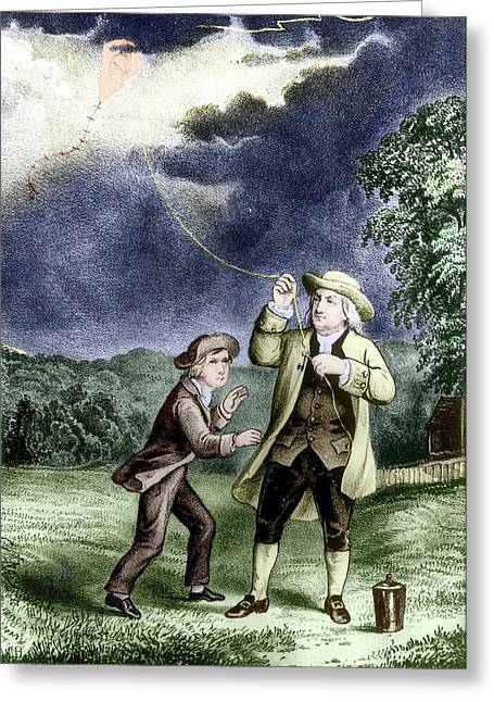 Franklin's Lightning Experiment Greeting Card by Us Department Of Energy