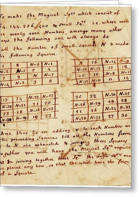 Franklin's Magic Squares Greeting Card by American Philosophical Society