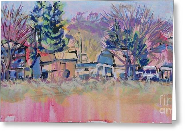 Small Towns Drawings Greeting Cards - Franklintown Frisk Greeting Card by Larry Lerew