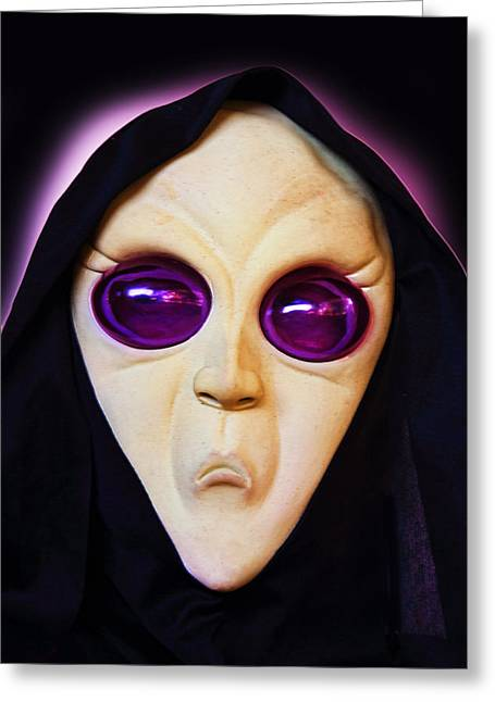 Purple Robe Greeting Cards - Franks Spooky Face Greeting Card by Linda Phelps