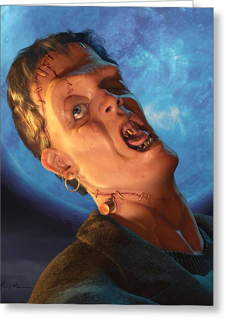 Undead Greeting Cards - Franky Stein Greeting Card by Gary Hanna