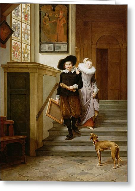 Mistake Greeting Cards - Frans Hals And His Wife Lysbeth Greeting Card by Gerrit Postma