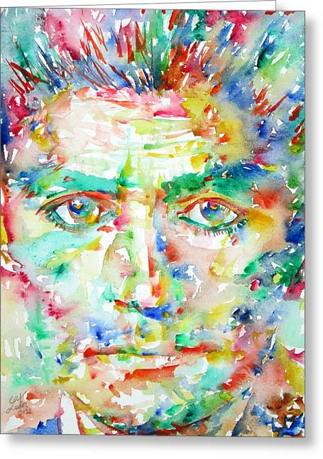 Franz Kafka Watercolor Portrait Greeting Card by Fabrizio Cassetta