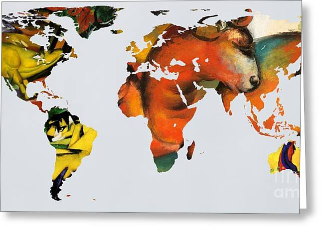 German Map Greeting Cards - Franz Marc 2  World map Greeting Card by John Clark