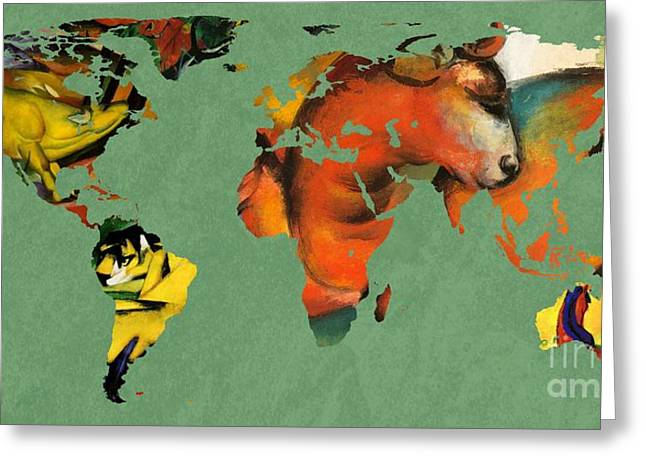 German Map Greeting Cards - Franz Marc 3  World Map Greeting Card by John Clark