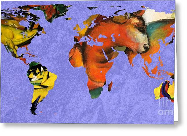 German Map Greeting Cards - Franz Marc 1 World Map Greeting Card by John Clark