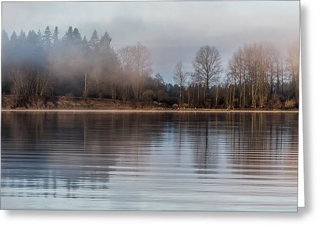 Cane Creek Greeting Cards - Fraser River Misty Morning Greeting Card by James Wheeler
