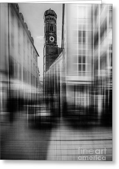 Frauenkirche Greeting Cards - Frauenkirche - Muenchen V - bw Greeting Card by Hannes Cmarits