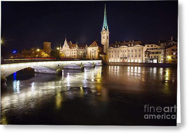 Minster Abbey Greeting Cards - Fraumunster Abbey Night Scenic Greeting Card by George Oze