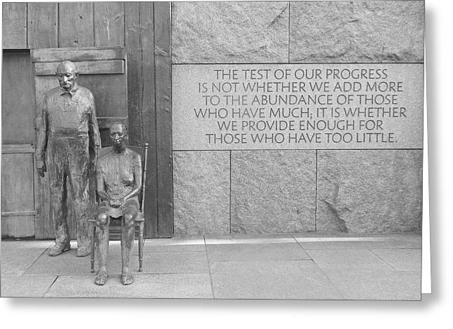 Fdr Memorial - Hunger Sculpture Bw Greeting Card by Emmy Marie Vickers