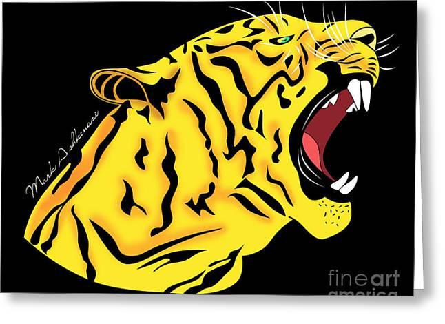 Cool Lion Greeting Cards - Freak Tiger  Greeting Card by Mark Ashkenazi