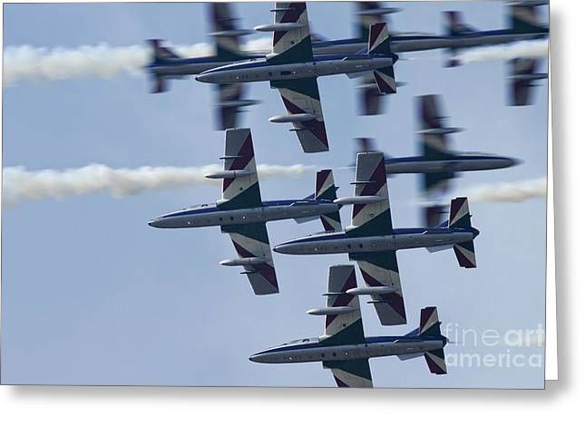 Crossover Greeting Cards - Frecce Tricolori italian air force aerobatic display team crossover pass Greeting Card by Joe Fox