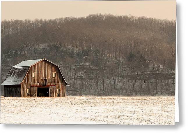 Hartsburg Greeting Cards - Frechman Barn - Winter Greeting Card by Wayne Meyer
