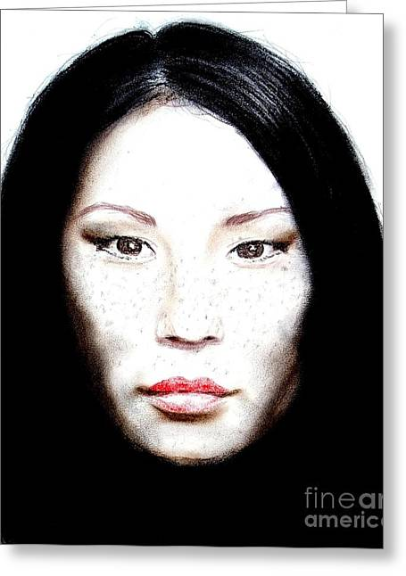 Jim Drawing Drawings Greeting Cards - Freckle Faced Beauty Lucy Liu  II Greeting Card by Jim Fitzpatrick