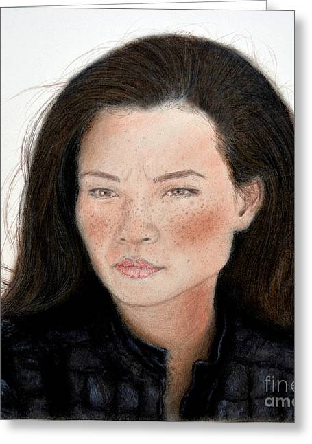 Sf Bay Bombers Mixed Media Greeting Cards - Freckle Faced Beauty Lucy Liu remake Greeting Card by Jim Fitzpatrick