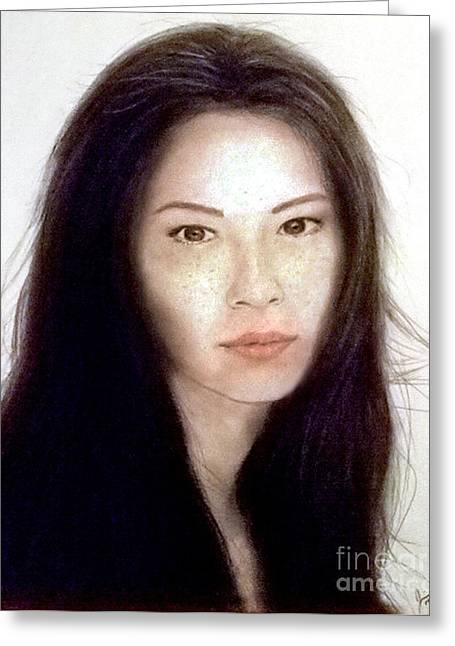 Sf Bay Bombers Mixed Media Greeting Cards - Freckled Faced Beauty Lucy Liu  Greeting Card by Jim Fitzpatrick