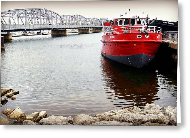 Fireboat Framed Prints Greeting Cards - Fred A Busse City of Chicago Fireboat Sturgeon Bay Greeting Card by Carol Toepke