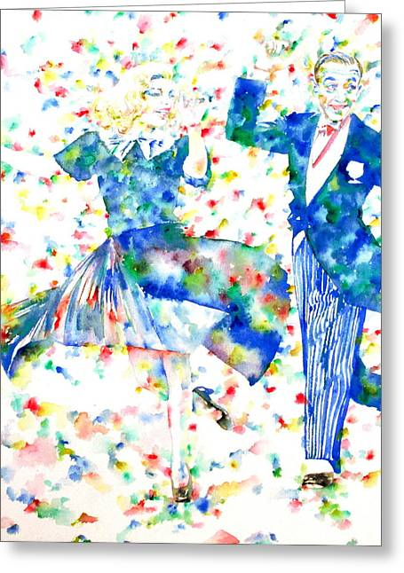 Dancer Pictures Greeting Cards - FRED ASTAIRE and GINGER ROGERS watercolor portrait Greeting Card by Fabrizio Cassetta