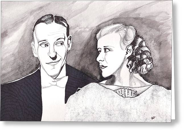 Classic Hollywood Drawings Greeting Cards - Fred Astairing at Ginger Greeting Card by Kevin Dellinger