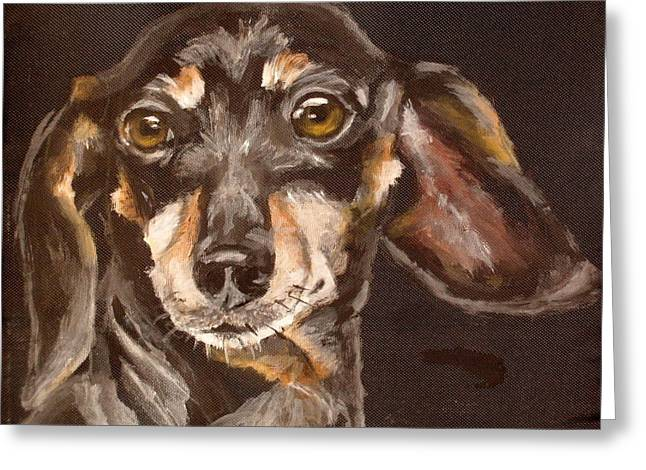 Black And Tan Dachshund Greeting Cards - Fred Greeting Card by Carol Russell