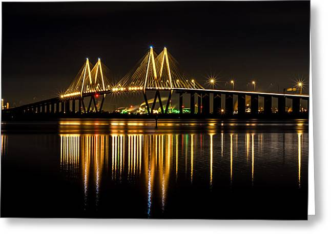 Night Photography Greeting Cards - Fred Hartman Bridge Greeting Card by David Morefield
