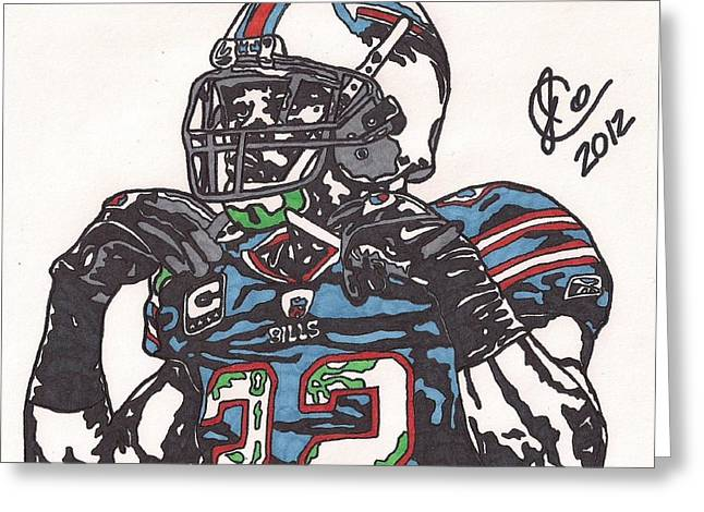 Player Drawings Greeting Cards - Fred Jackson Greeting Card by Jeremiah Colley
